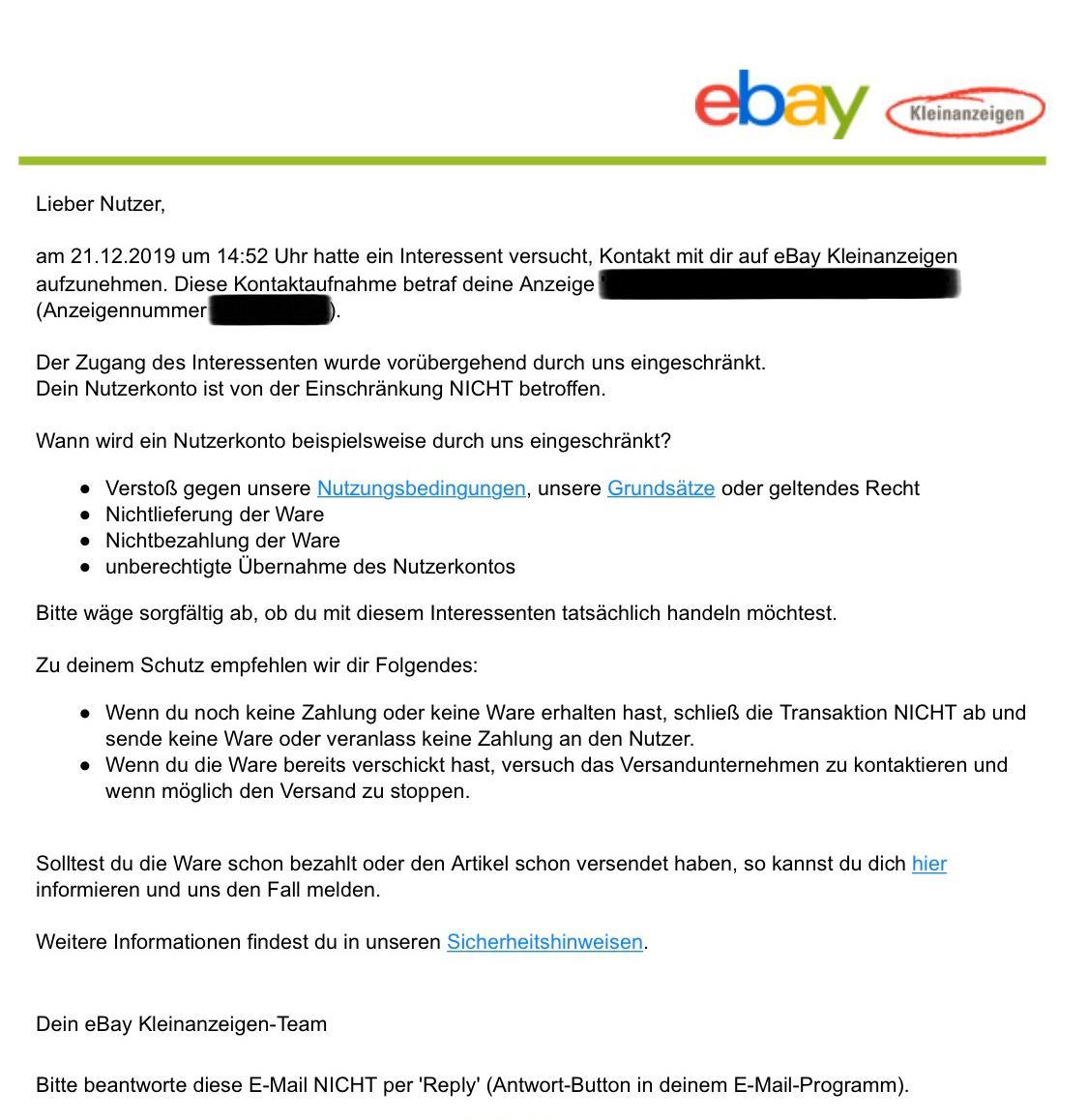 Ebay Kleinanzeigen Geld überweisen