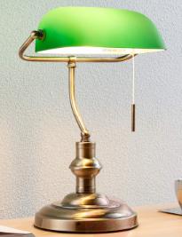 Was hat es mit diesen Schreibtischlampen mit grünem Schirm auf sich, die es häufig in amerikanischen Serien und Filmen zu sehen gibt?