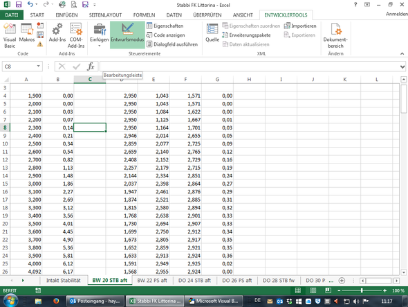 Sheet 2 ( Tabelle zum interpollieren) - (Microsoft, Excel, Office)