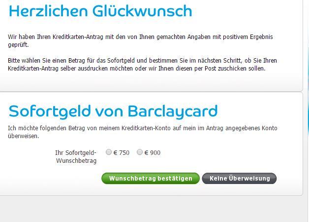 Barclaycard Sofortgeld