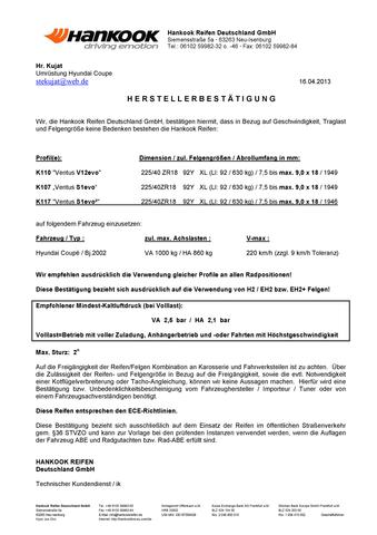 Reifenfreigabe Hankook - (Druck, Bar, Luftdruck)