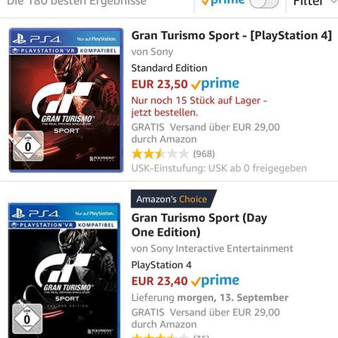 Was ist der Unterschied zwischen Gran Turidmo Sport und Gran Turismo Sport day one edition?