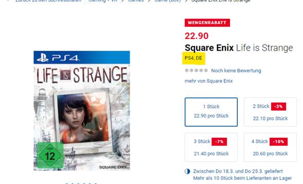 Was ist die gesprochene Sprache in Life is Strange auf der PS4?