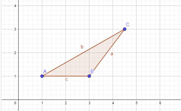Was ist die Höhe hc bei diesem Dreieck?