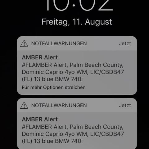 Da steht amber alert? - (USA, Amber Alert, Notfallwarnung)