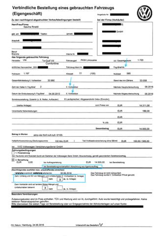 Kaufvertrag anonymisiert - (Auto, KFZ, Gebrauchtwagen)