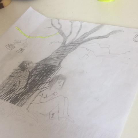 Ein Baum mit Polaroid Fotos 2 Menschen Trauer  - (Schule, Kunst, Zeichnung)