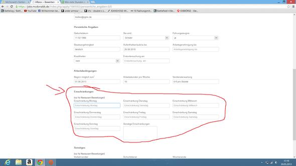 screenshot der online bewerbung arbeit aushilfe mc donalds - Mc Donalds Bewerbung