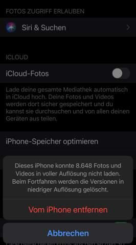 Was passiert mit meinen fotos wenn ich icloud fotos auf meinem iphone deaktiviere?