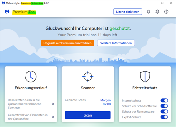 Was passiert, wenn ich nicht von Malwarebytes Premium Trial (Testversion) auf die Premium-Version upgrade?