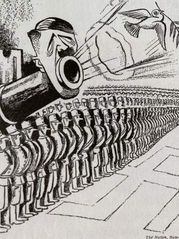 Was soll die Karikatur bedeuten (Weltkrieg)?