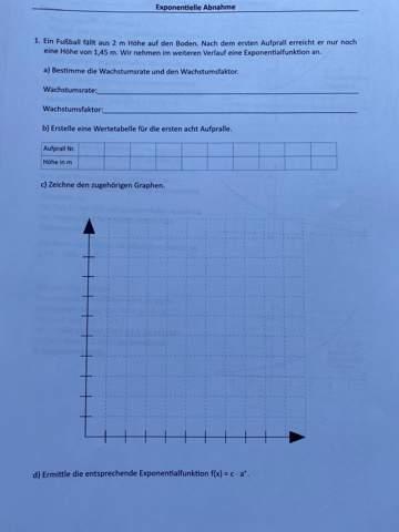 Was soll ich hier machen? Was ist ein Exponentielles Wachstum? Könntet ihr mir vielleicht bei meiner Hausaufgabe helfen?