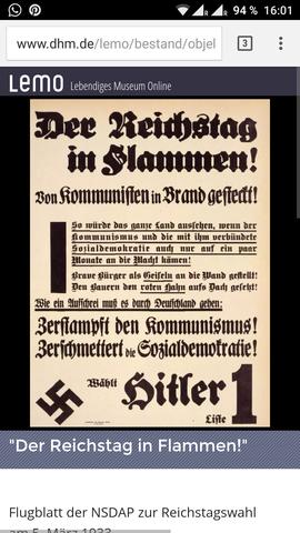 """Was steht auf dem Wahlplakat von der NSDAP """"Der Reichstag in Flammen""""?"""