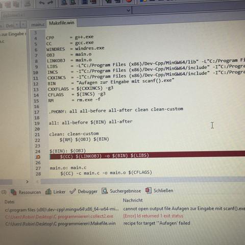 Die Fehlermeldung. - (Computer, PC, programmieren)