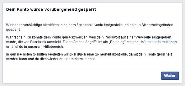 Facebook vorübergehend gesperrt wie lange
