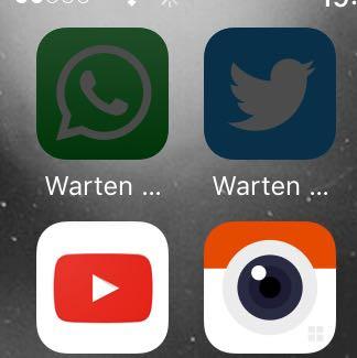 Oben die Apps, welche sich nicht öffnen lassen. - (Technik, iPhone, Apps)