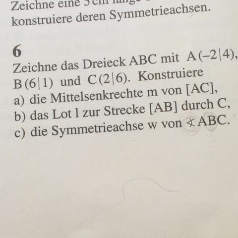 Was tun wenn da steht Konstruiere die Symmetrieachse w von ABC?