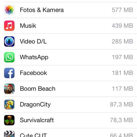 Auf dem bild sieht man das eigentlich viel mehr speicher frei sein sollte. - (iPad, Speicherproblem)