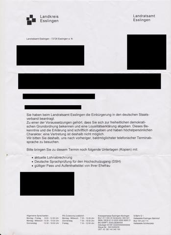Brief - (Termin, Einbürgerung)