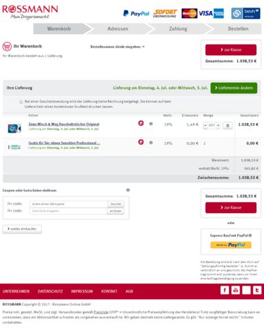 Warenkorb Versuch - (Post, Online-Shop, Paket)