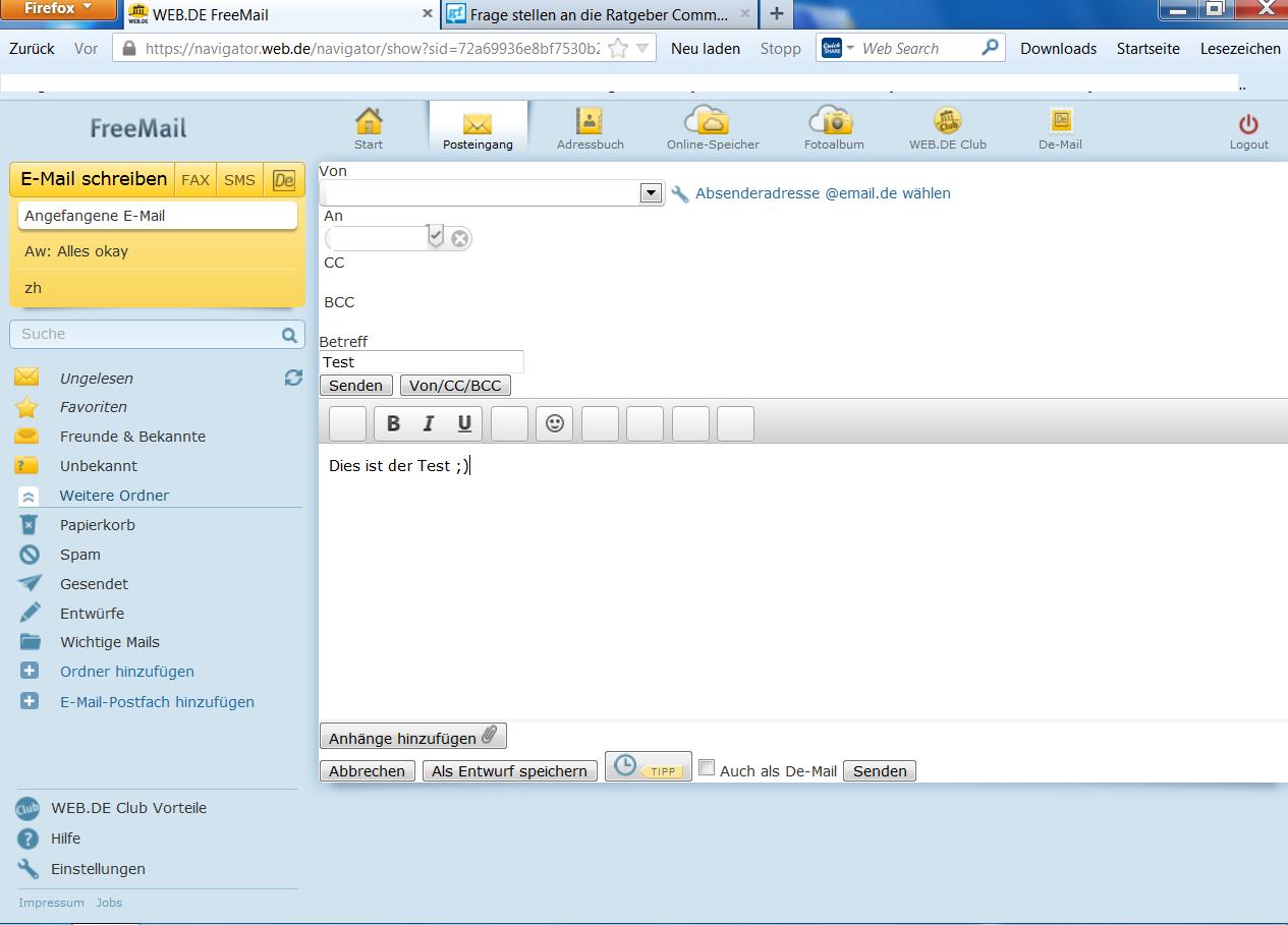 WEB.DE Kann keine E-Mails versenden, bitte um Hilfe... (Internet)