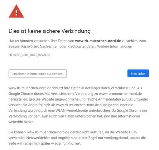 """Website von Raiffeisenbank zeigt laufend """"Datenschutzfehler"""" an und lässt mich nicht auf die Seite. Was kann ich tun?"""