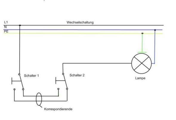 Wechselschaltung mit Doppelschalter (Elektrik, Licht, Schaltplan)