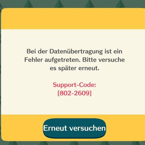 Weis jemand wie ich den Fehlercode von Animal Crossing Pocket Camp beheben kann?