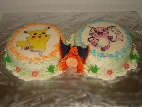 Tortenbild mit Pikachu und Raichu - (essen, Pokemon, backen)