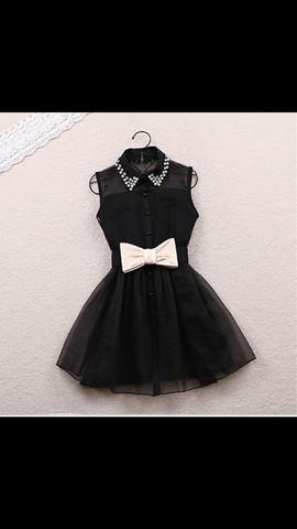Schwarzes kleid  - (Kleid, schwarz, Schleifen)