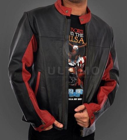 schwarz rot - (Aussehen, Jacke, Leder)