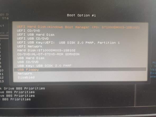 """Welche """"Boot Option"""" Bezeichnung steht für SSD/USB-Stick?"""