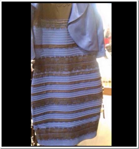 Kleid blau schwarz weib gold beides sehen
