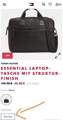 Welche Größe hat diese Notebook-Tasche, was heißt One-Size?