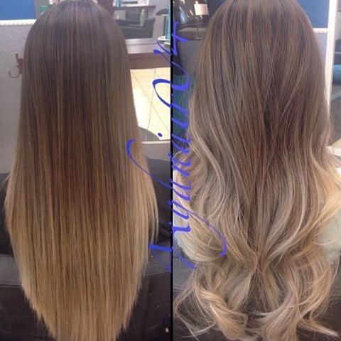 Blond, einmal in Glatt unf wie es gewellt aussieht  - (Haare, Frauen, Farbe)