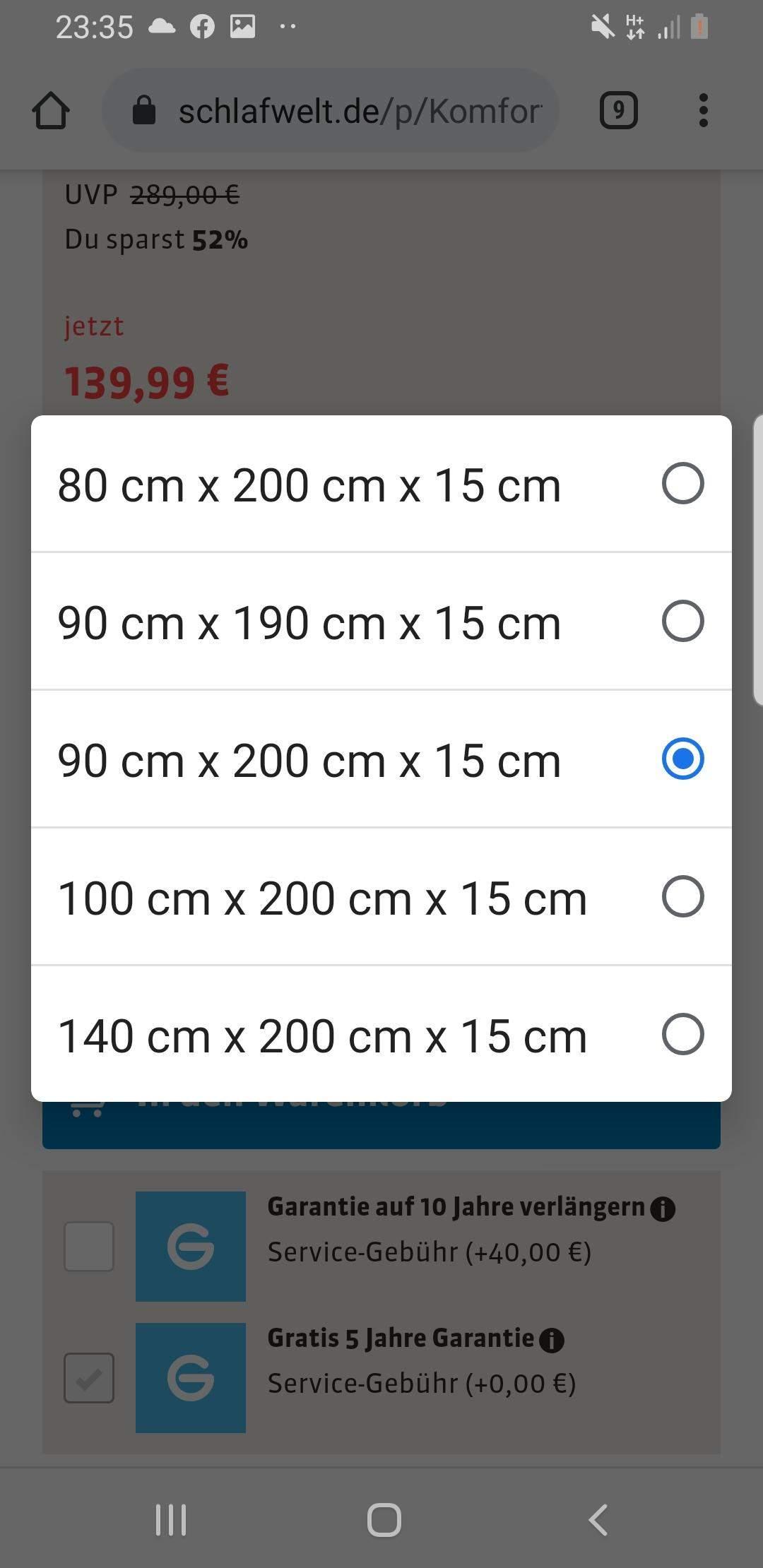 Welche matratzen länge breite maße soll ich eingeben