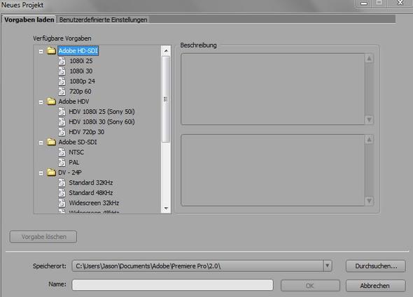 Welche Projekteinstellungen für Adope Premiere Pro 2.0?