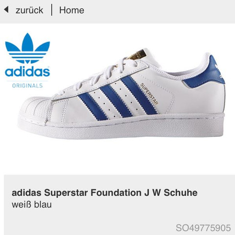 Weiß blau  - (Schuhe, schwarz, adidas)