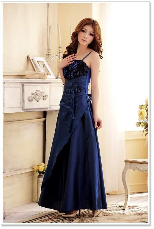 Kleid schuhe blaues langes Styling