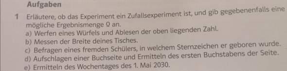 Welche sind Zufallsexperimente?