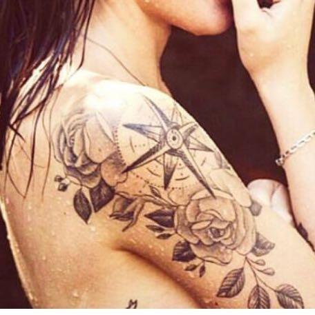 Kompass mit rosen - (Tattoo, Tätowieren, Tätowierung)