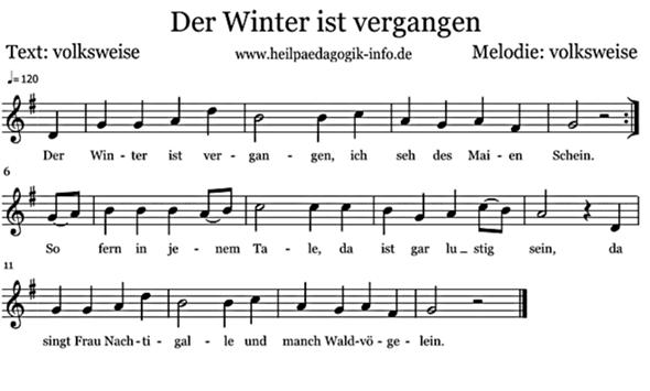 """Welche Tonart hat das Lied """"Der Winter ist vergangen""""?"""