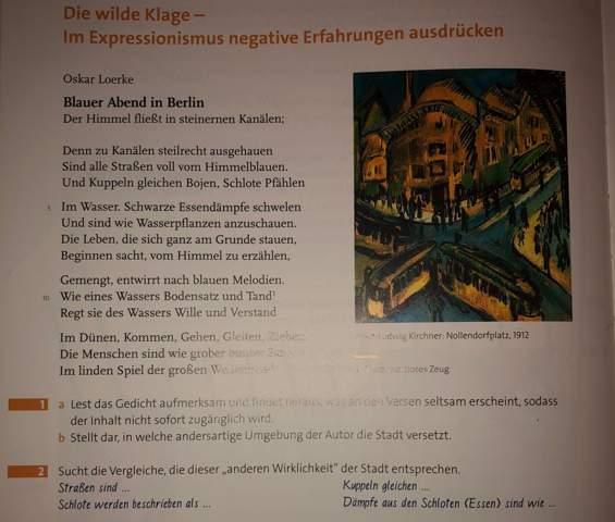 """Welche Versen erscheinen euch seltsam bei dem Gedicht """"blauer Abend in Berlin""""?"""