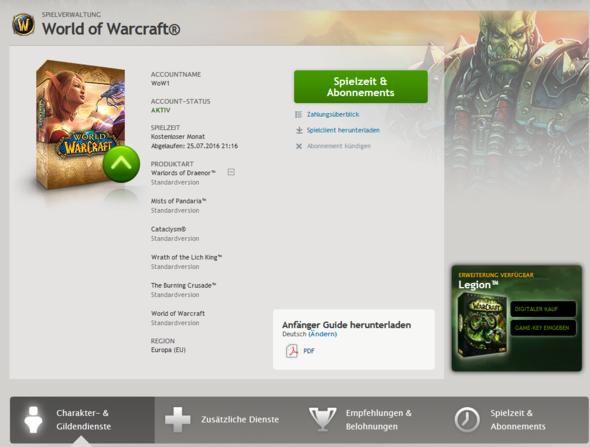 wow auf meinem Battle.net Acc - (Spiele, WOW, World of Warcraft)