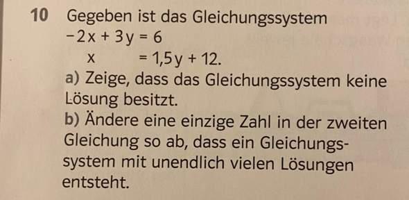 Welche Zahl muss man ändern, damit ein Gleichungssystem mit unendlich vielen Lösungen besteht? (Aufgabe B)?