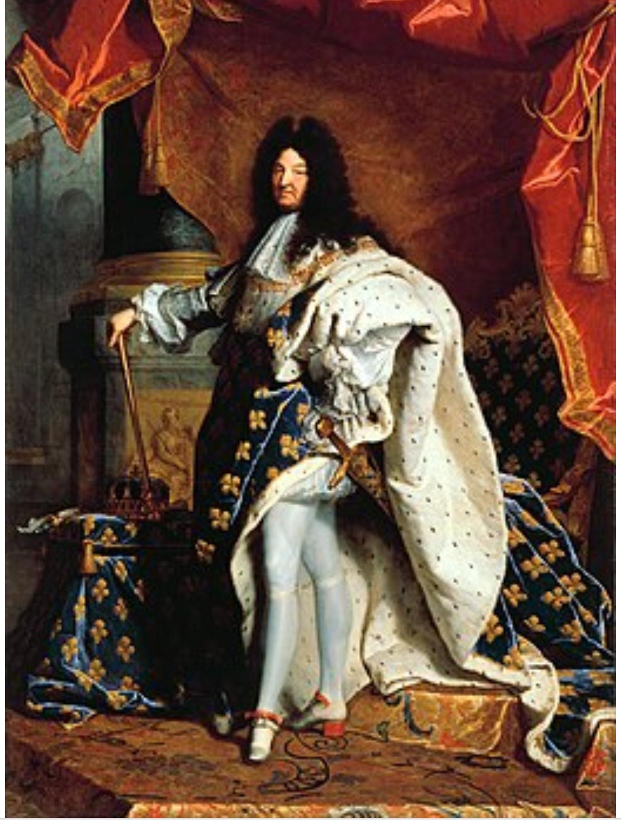 Welchen Stoff trug König Ludwig XIV auf diesem Bild ...