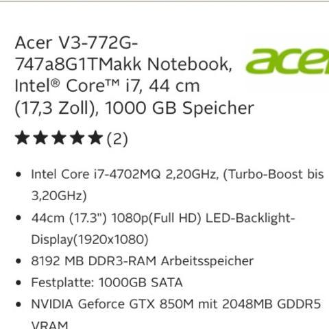 Acer-Laptop - (zocken, welches ist besser)