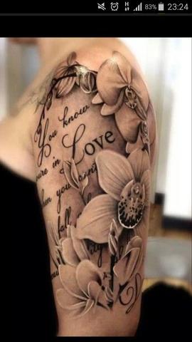 Bild mit Blumen und Spruch - (Tattoo, Sprüche)