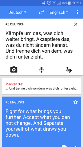 Spruch von Deutsch auf Englisch - (Tattoo, Sprüche)