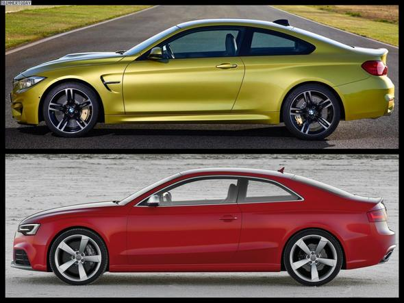 BMW M4 (Gold) / Audi RS5 (Rot) - (Computer, Auto, Facebook)